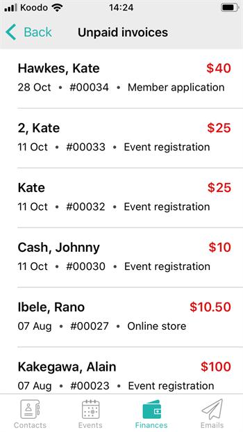 Mobile finances - unpaid invoices