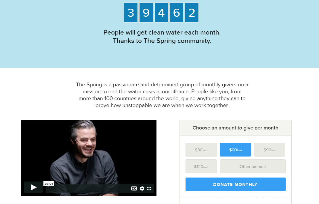 Monthly giving program - the spring example