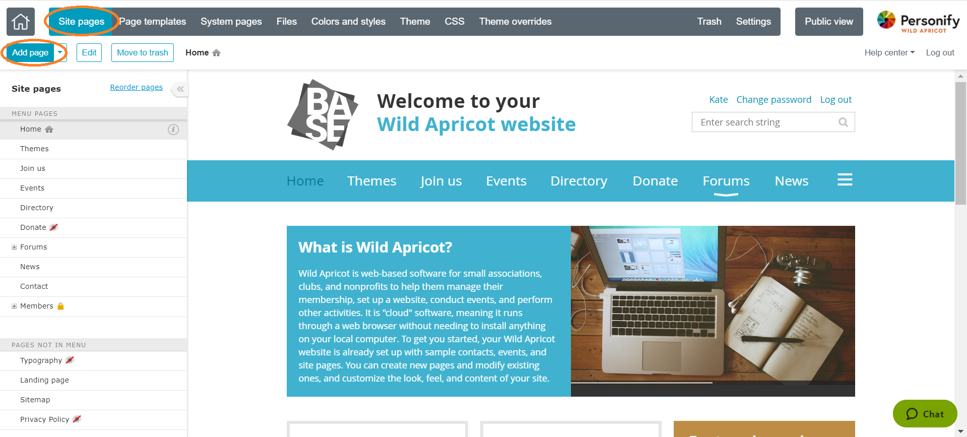 Subscription website add site page
