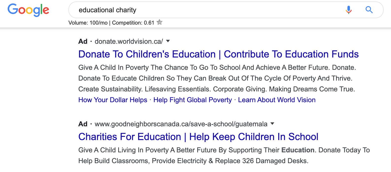 nonprofit advertising on google