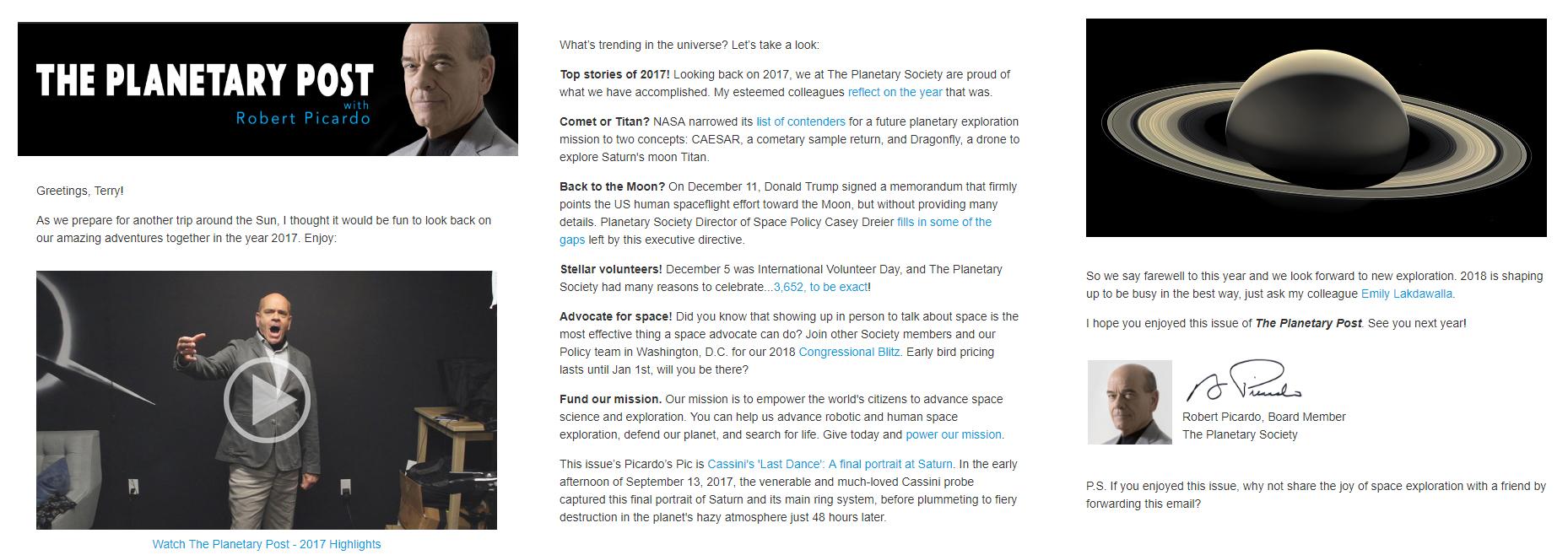 Nonprofit Newsletter Planetary Society