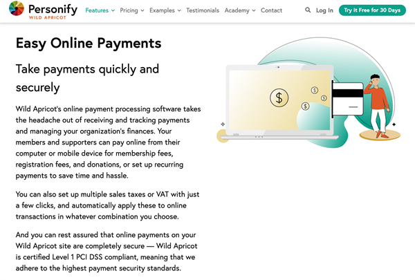 online payments wild apricot