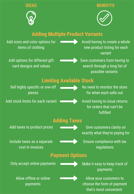 Online store post - benefits infographic