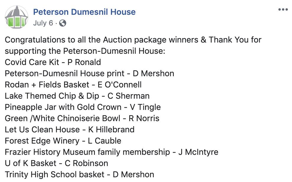 Peterson Dumesnil House winners