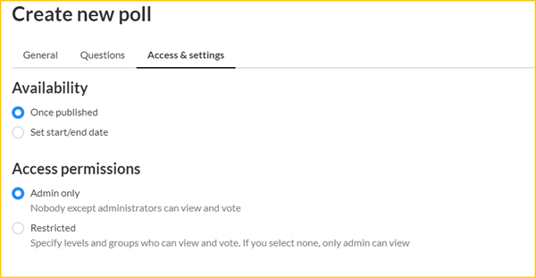Polls access and settings screenshot w outline