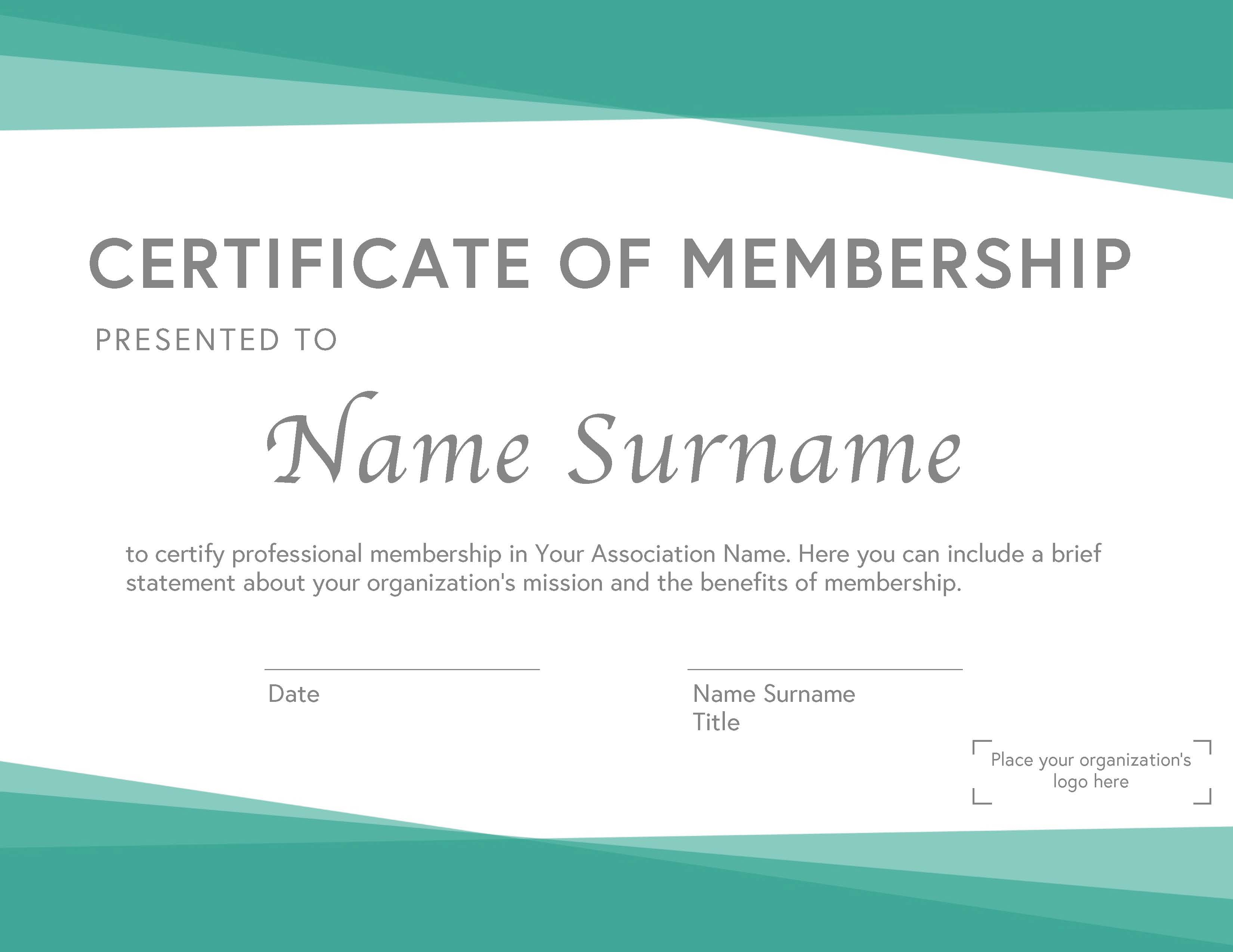 Professional Association Membership Certificate