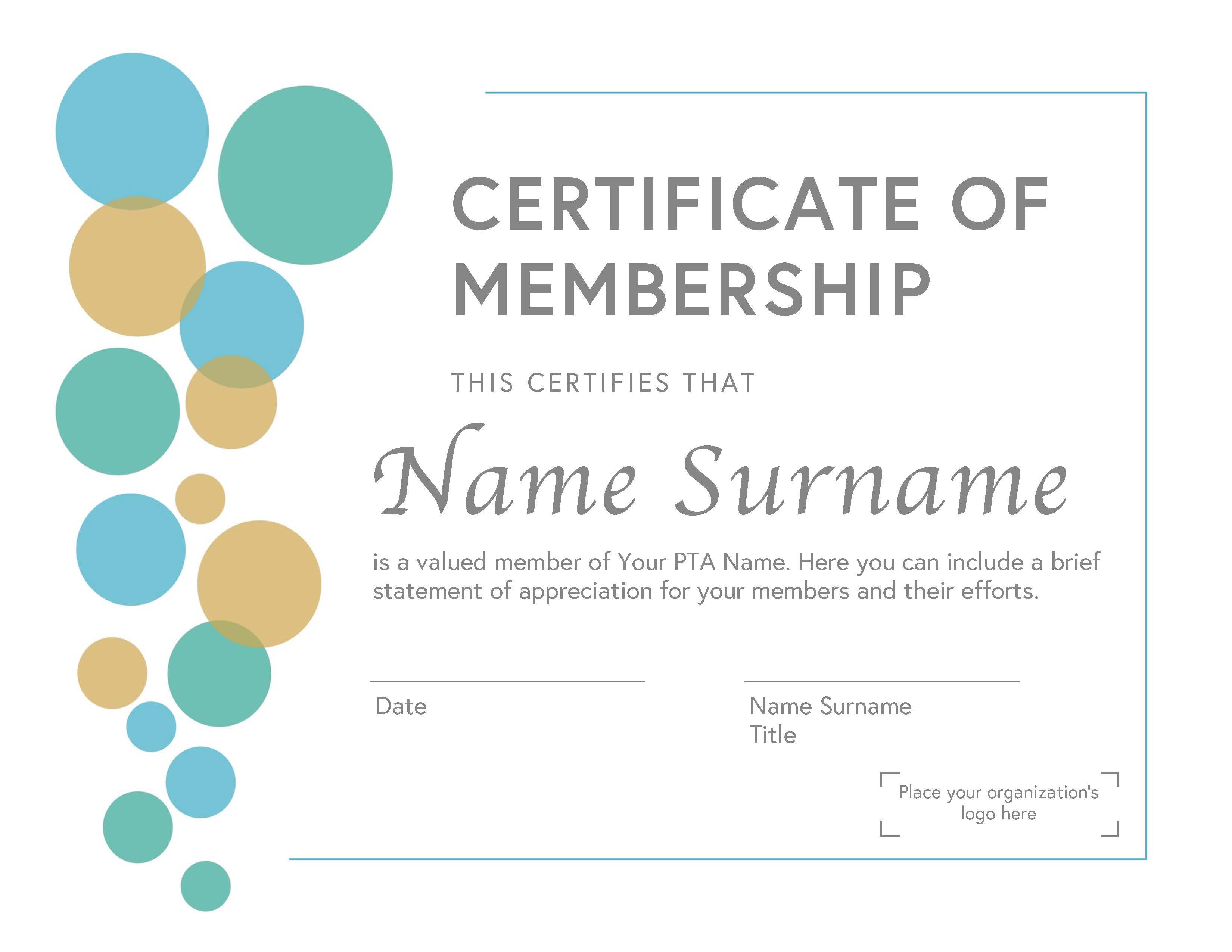 PTA Membership Certificate