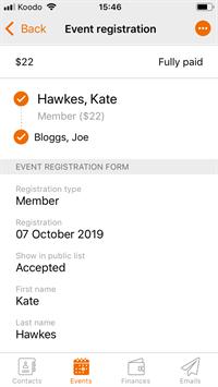 qr code mobile app registration details