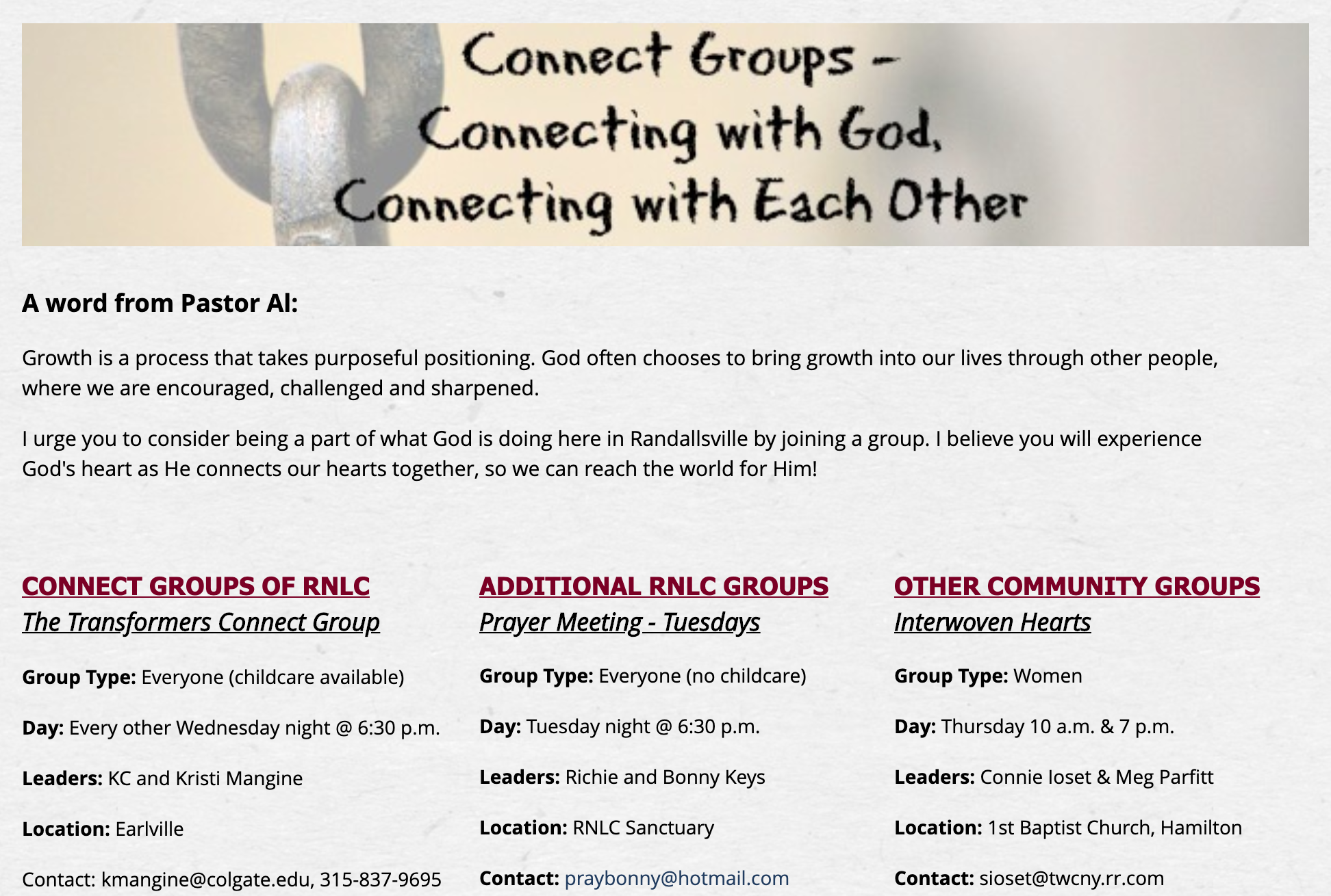 Randallsville New Life Church connect groups