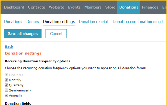 Recurring donations - donation settings