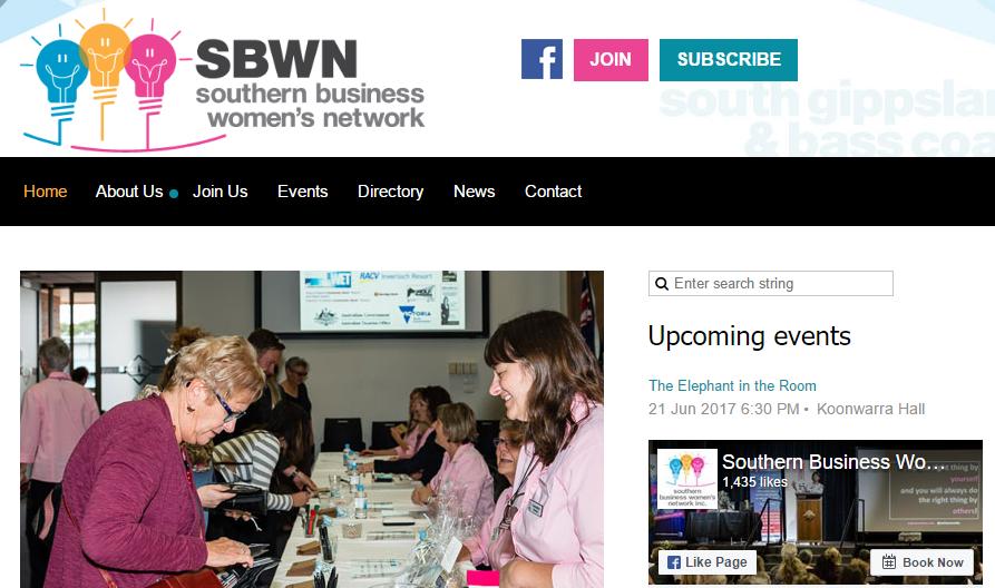 SBWN nonprofit website