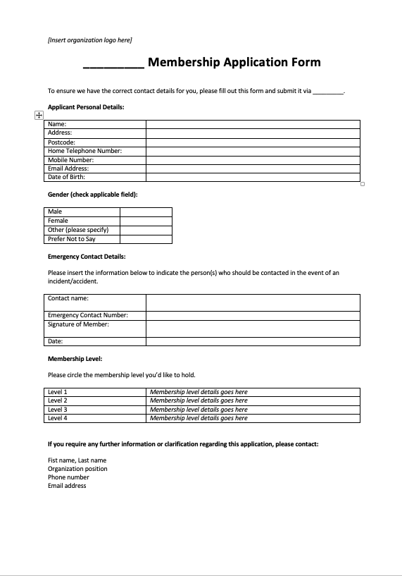 5 Expert Tips To Improve Your Membership Application Form Examples Template
