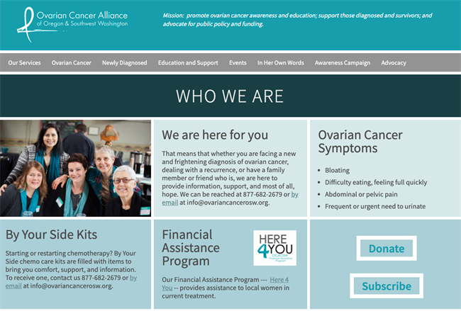 ovarian best nonprofit website
