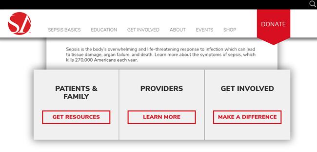 Sepsis Alliance best nonprofit website