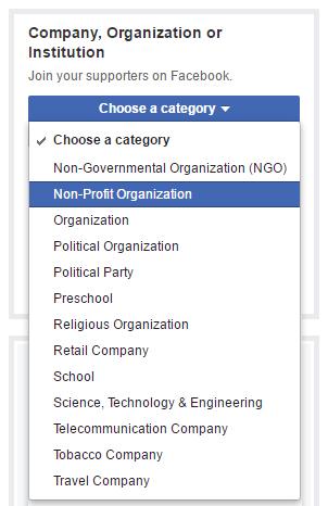 setup a nonprofit facebook page