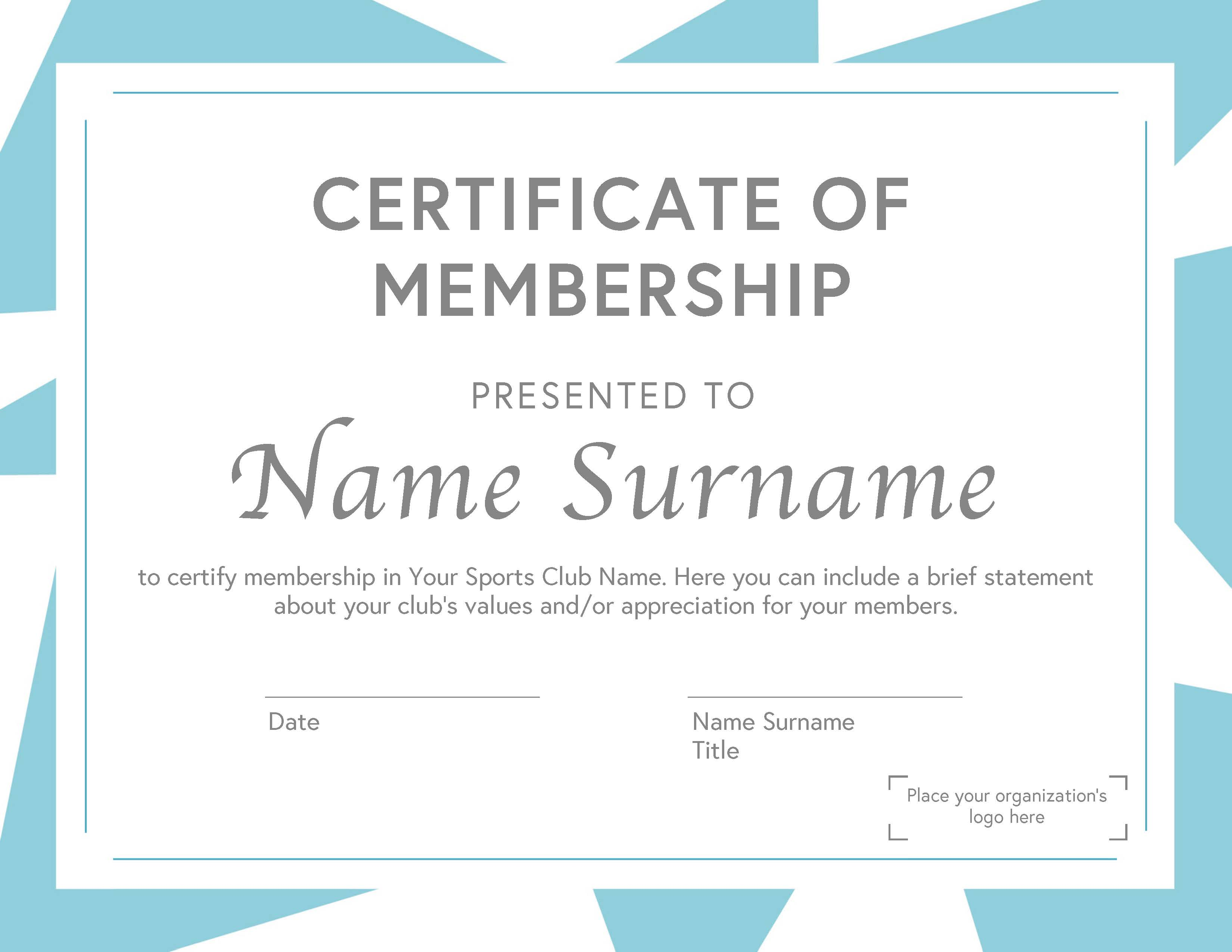 Sports Club Membership Certificate