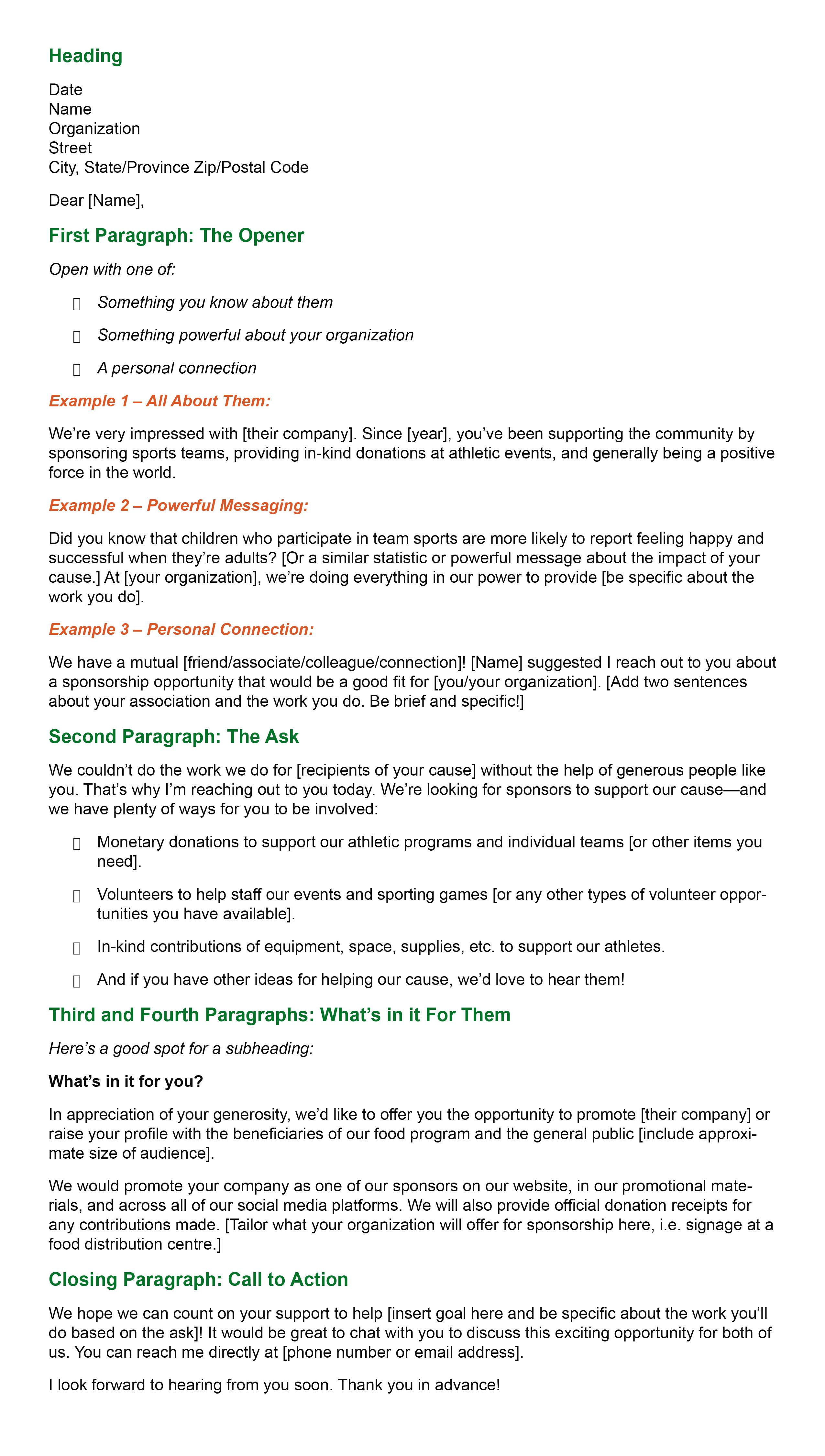 Sports Teams Sponsorship Letter template