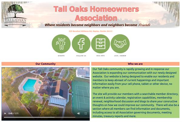 Tall Oaks Homeowners Association website