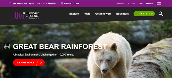 Telus World of Science best nonprofit website
