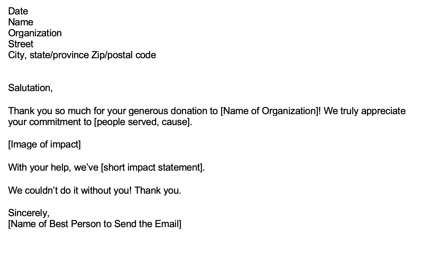 thank you email for donation
