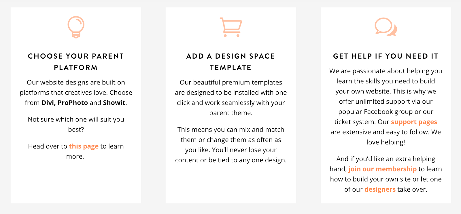 the design space options