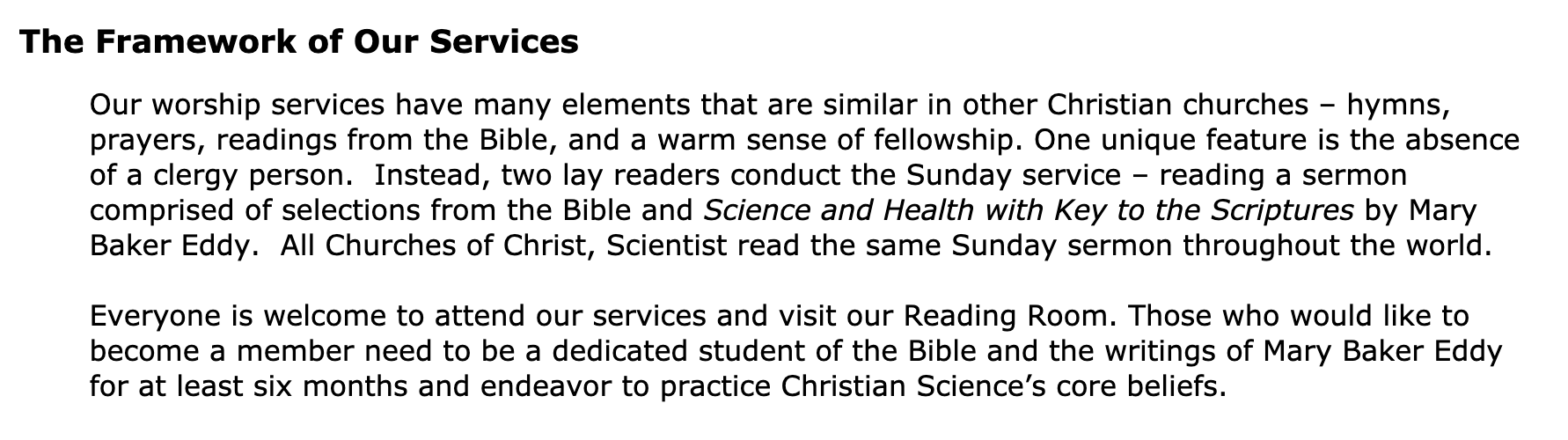 The First Church of Christ, Scientist, Naperville membership requirements