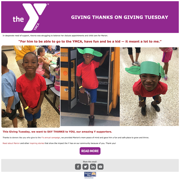 The YMCA giving tuesday email