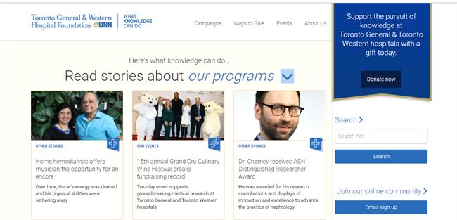 Toronto General and Western Hospital Foundation best nonprofit website