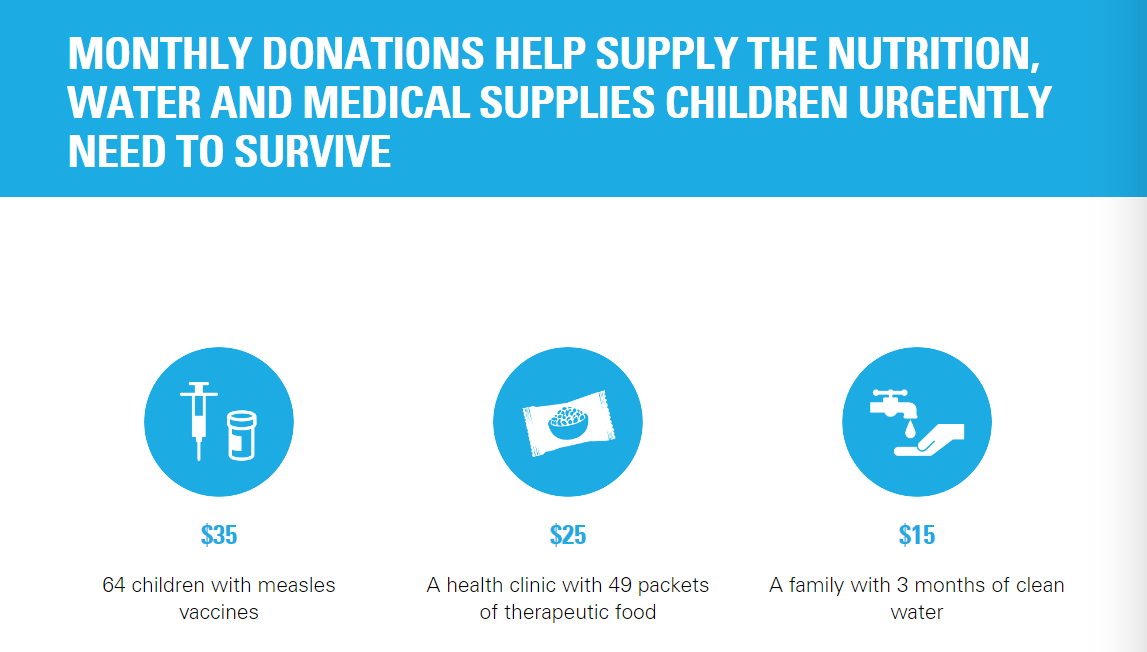 Unicef giving - tangible benefits