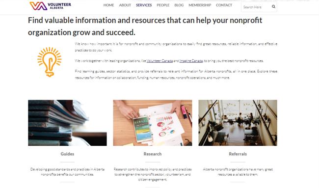 Volunteer Alberta best nonprofit website