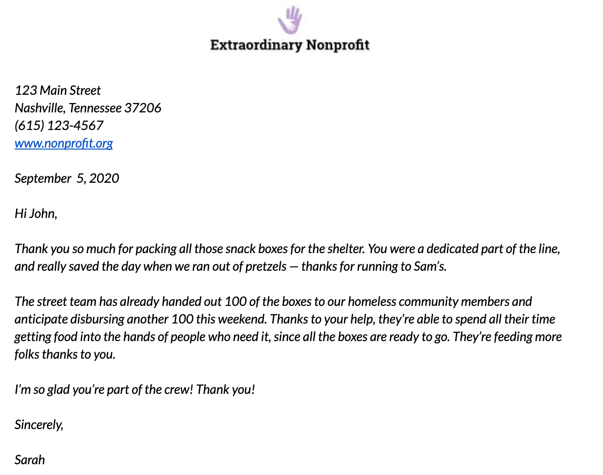 Volunteer Thank-You Letter Example 1
