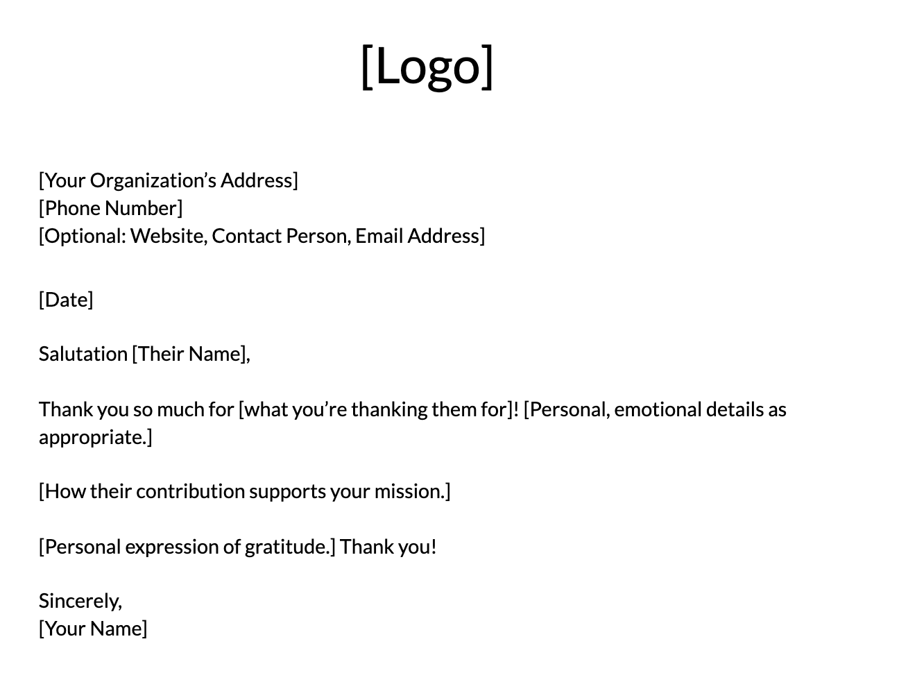 Volunteer Thank-You Letter Template