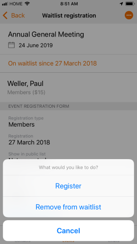 Waitlist registration example