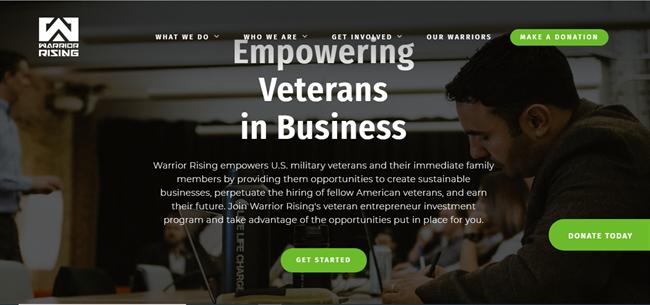 Warrior Rising best nonprofit website