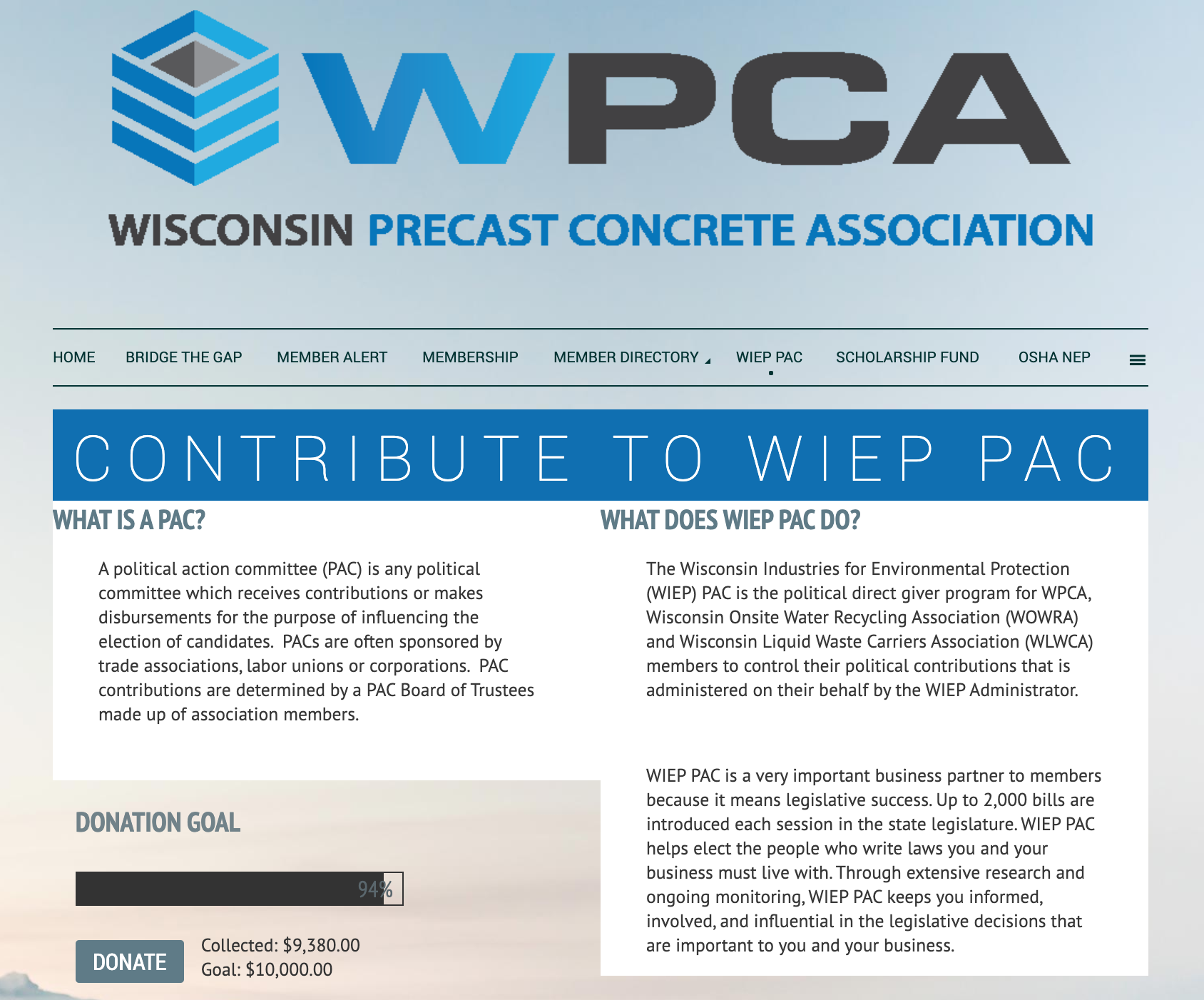 Wisconsin Industries for Environmental Protection PAC website
