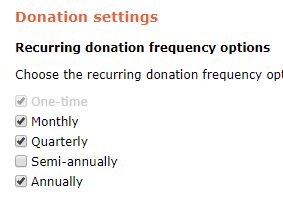 Offer options for donation subscriptions