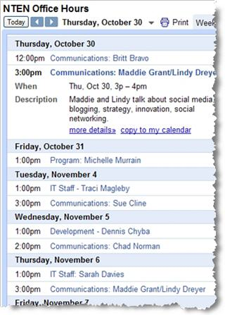 NTEN Office Hours chat calendar