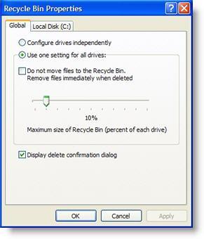 Windows recycling bin settings screenshot