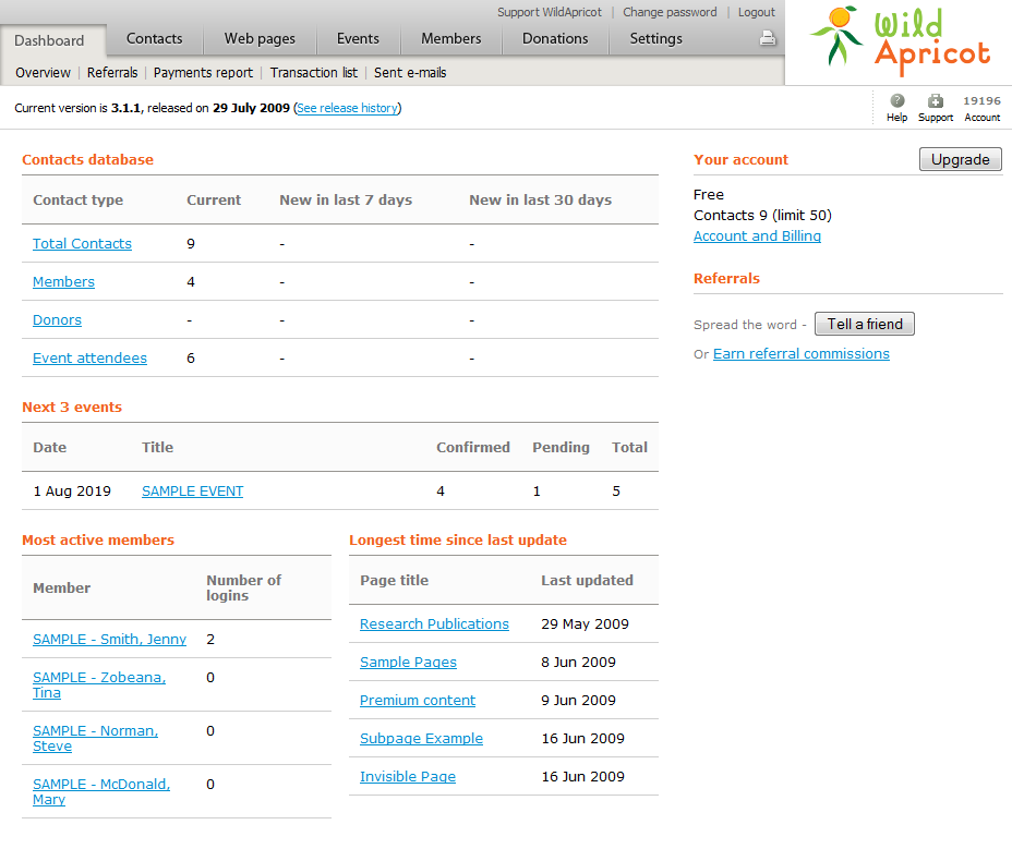 Wild Apricot member management software - admin dashboard view