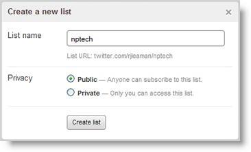 create Twitter lists screenshot