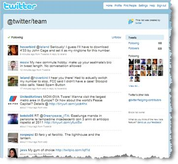 Twitter Team list screenshot