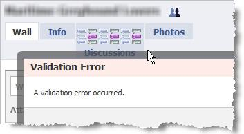 Facebook Group tab error screenshot