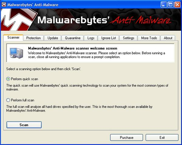 Malwarebytes software screenshot