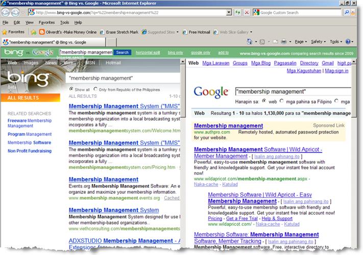 """Bing-vs-Google search """"membership management"""" screenshot"""