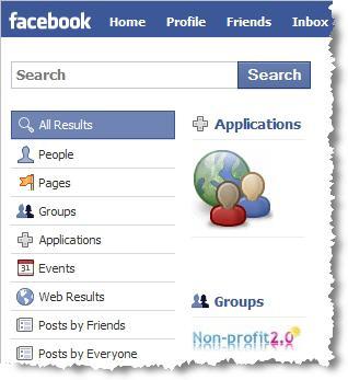 Facebook Search screenshot