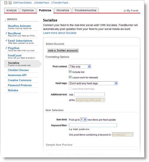 FeedBurner Socialize screenshot