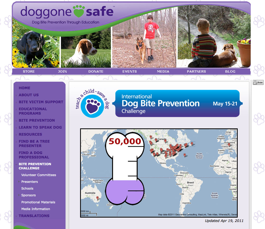 Third-Party Widgets on the Dog Bite Challenge homepage