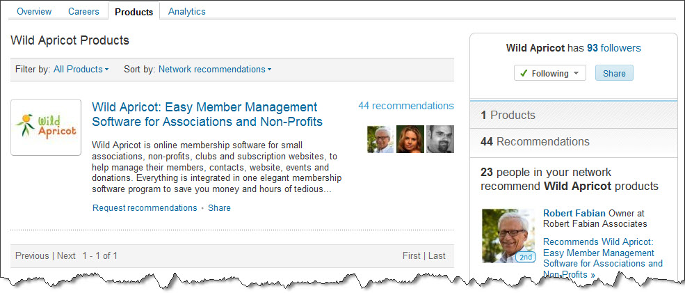 Wild Apricot LinkedIn Recommendations (click to enlarge)