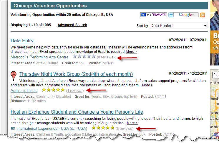 Volunteer Match Search Results (click to enlarge)