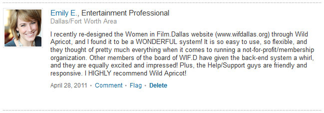 Emily's LinkedIn Recommendation (click to enlarge) of WA